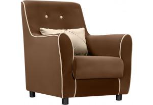Кресло тканевое Флэтфорд темно-коричневый/бежевый (Велюр)
