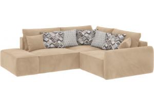 Модульный диван Портленд вариант №1 песочный (Вел-флок, правый)