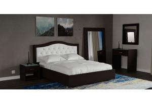 Мягкая кровать 200х140 Малибу вариант №9 с ортопедическим основанием (Белый/Шоколад)