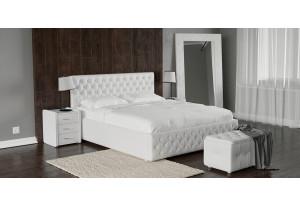 Мягкая кровать 200х140 Малибу вариант №4 с ортопедическим основанием (Белый)