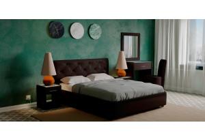 Мягкая кровать 200х140 Малибу вариант №2 с ортопедическим основанием (Шоколад)