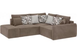 Модульный диван Портленд вариант №1 темно-бежевый (Вел-флок, правый)