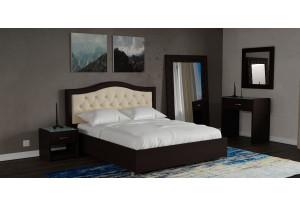 Мягкая кровать 200х140 Малибу вариант №9 с ортопедическим основанием (Бежевый/Шоколад)