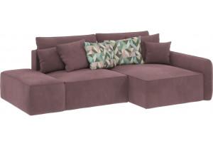 Модульный диван Портленд вариант №3  розово-серый (Велюр, правый)