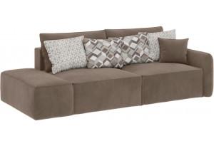 Модульный диван Портленд вариант №2 темно-бежевый (Вел-флок, правый)