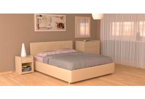 Мягкая кровать 200х120 Малибу вариант №10 с ортопедическим основанием (Бежевый)