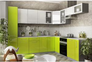 Модульная кухня Тиара вариант №3 (серый/лайм глянец)