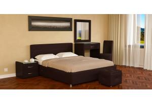 Мягкая кровать 200х140 Малибу вариант №5 с ортопедическим основанием (Шоколад)