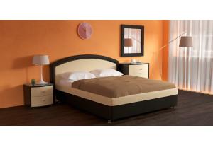 Мягкая кровать 200х140 Малибу вариант №8 с ортопедическим основанием (Бежевый/Шоколад)