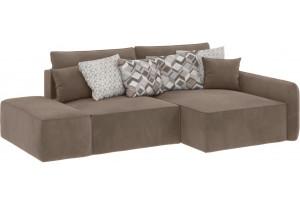 Модульный диван Портленд вариант №3 темно-бежевый (Вел-флок, правый)
