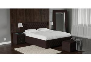 Мягкая кровать 200х140 Малибу вариант №4 с ортопедическим основанием (Шоколад)