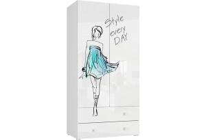 Шкаф распашной двухдверный Мелисса (белый)