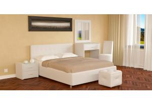 Мягкая кровать 200х140 Малибу вариант №5 с ортопедическим основанием (Белый)