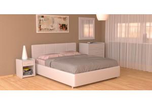 Мягкая кровать 200х140 Малибу вариант №10 с ортопедическим основанием (Белый)