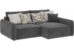 Модульный диван Портленд вариант №4 серый (Микровелюр, правый)