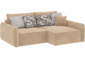 Модульный диван Портленд вариант №4 песочный (Вел-флок, правый)