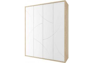 Шкаф распашной 4-х дверный Монтана (дуб небраска/белый глянец)