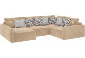 Модульный диван Портленд вариант №8 песочный (Вел-флок, правый)