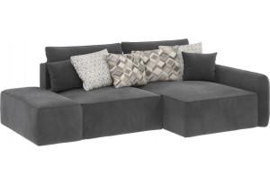 Модульный диван Портленд вариант №3 серый (Микровелюр, правый)