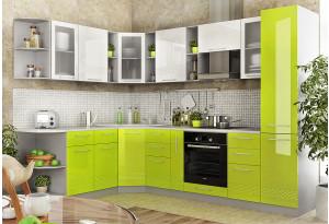Модульная кухня Тиара вариант №2 (серый/лайм глянец)
