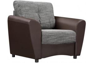Кресло тканевое Амстердам серый (Рогожка + Экокожа)