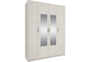 Шкаф распашной 4-х дверный Крит (дуб белый/зеркало)