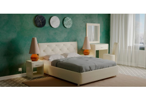 Мягкая кровать 200х140 Малибу вариант №2 с подъемным механизмом (Бежевый)