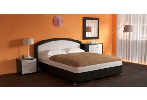 Мягкая кровать 200х140 Малибу вариант №8 с ортопедическим основанием (Белый/Шоколад)