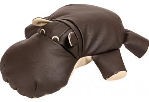 Декоративная подушка Бегемот Шоколадный (Кожаное изделие)