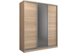 Шкаф-купе трехдверный Манхеттен 210 см (сонома+зеркало)