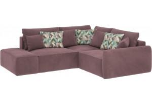 Модульный диван Портленд вариант №1  розово-серый (Велюр, правый)
