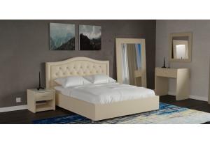 Мягкая кровать 200х140 Малибу вариант №9 с ортопедическим основанием (Бежевый)