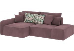 Диван тканевый угловой Портленд вариант №3 розово-серый (Велюр, левый)