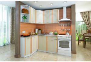 Кухонный гарнитур Лагуна левый угол (белый/дуб кремона)