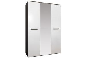 Шкаф распашной трехдверный Виго (венге/белый глянец+зеркало)