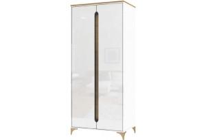 Шкаф распашной двухдверный Хлоя (белый/дуб небраска)
