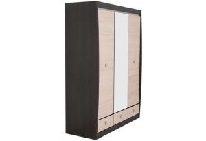 Шкаф распашной трехдверный Корсика (ясень глянец+зеркало/дуб феррара)