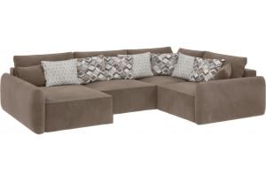 Модульный диван Портленд вариант №8 темно-бежевый (Вел-флок, правый)