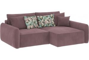 Модульный диван Портленд вариант №4 розово-серый (Велюр, правый)