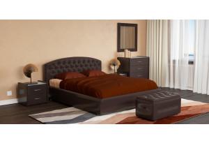 Мягкая кровать 200х140 Малибу вариант №1 с подъемным механизмом (Шоколад)