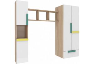 Шкаф распашной двухдверный Акварель (ясень песочный/белый)