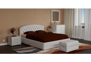 Мягкая кровать 200х140 Малибу вариант №1 с ортопедическим основанием (Белый)