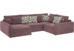 Модульный диван Портленд вариант №8 розово-серый (Велюр, правый)