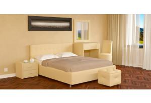 Мягкая кровать 200х160 Малибу вариант №5 с ортопедическим основанием (Бежевый)