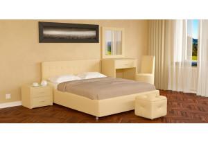 Мягкая кровать 200х140 Малибу вариант №5 с ортопедическим основанием (Бежевый)