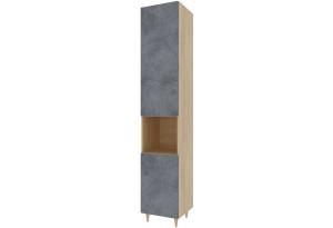 Шкаф распашной однодверный Монца (дуб небраска/бетон тёмный)