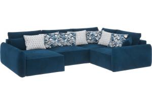Модульный диван Портленд вариант №8 светло-синий (Микровелюр, правый)