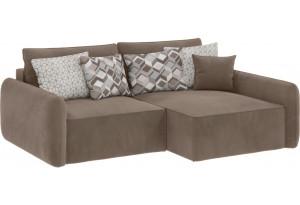 Модульный диван Портленд вариант №4 темно-бежевый (Вел-флок, правый)