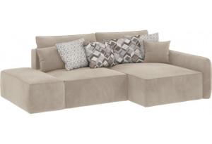 Модульный диван Портленд вариант №3 светло-бежевый (Вел-флок, правый)