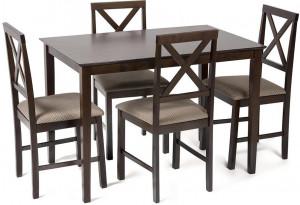 Обеденный комплект эконом Хадсон темный орех \ св.- кор. (стол + 4 стула)